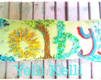 COLBY IN STOCK Freehand Embroidered Bohemian Name Pillow Ready to Ship YelliKelli