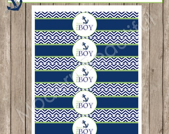 Lime and Navy water bottle labels, nautical water bottle labels, drink labels, nautical baby shower, chevron, Nautical2  INSTANT DOWNLOAD