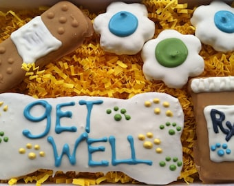 Dog Treats// Homemade Gourmet Blue Get Well Peanut Butter Treats for Boy Dogs