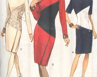 "Vogue 8536, Sz 14-18/Bust 36-40"". EASY 90s Vogue Dress, Color Block Sheath Dress with short/long sleeves, RARE 90s Vintage pattern, UNCUT."
