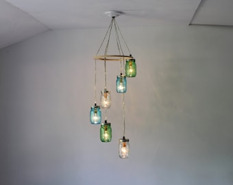 Sea Glass Spiral Mason Jar Chandelier, Hanging Chandelier Lighting Fixture, Green Blue and Clear Jars, Handcrafted BootsNGus Lights & Decor
