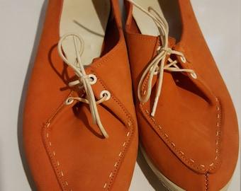 Orange Suede Vintage Brunswicks, Womens Size 7