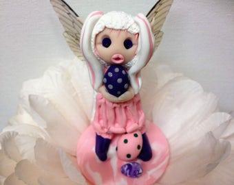 Ooak, Easter Fairy, Faerie, Polymer Clay, Sculpture, Cake Topper, Fairy Garden
