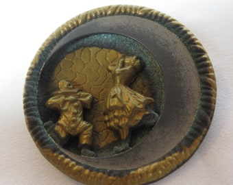 Late 19th Century French Theatrical Brooch, Pierrot and Pierrette, True Love, Gold Tone, Signed
