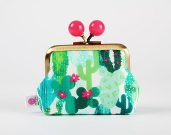 Metal frame coin purse with color bobbles - Cactus - Color mum / French fabric / Cacti / Green mint lime turquoise / Hot pink