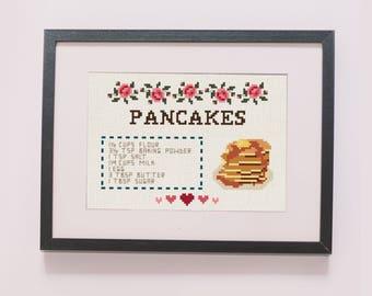 Pancakes recipe counted cross stitch pattern