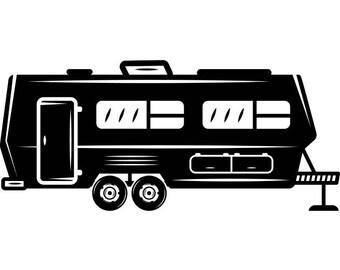 Camper 1 Motorhome Recreational Vehicle RV Camping Camp Campsite Trailer Transportation Vacation Logo SVG