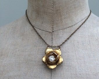 Vintage rose pendant upcycled