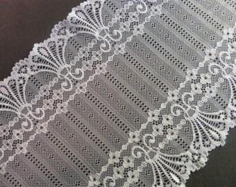 2m white elastic lace 17cm wide Art Nouveau