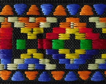 Jacquard Trim | Jacquard Ribbon Woven Jacquard Ribbon | Bright Geometric pattern | Red~orange~green~yellow~cream~black | Guitar strap ribbon