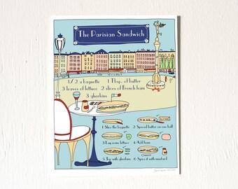 French Food Art print 'The Parisian Sandwich' Recipe Illustration Art for the kitchen 8x10 Blue