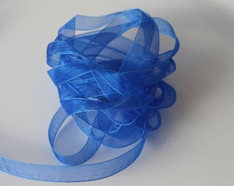11 meters and royal blue organza - 1 cm wide ribbon-