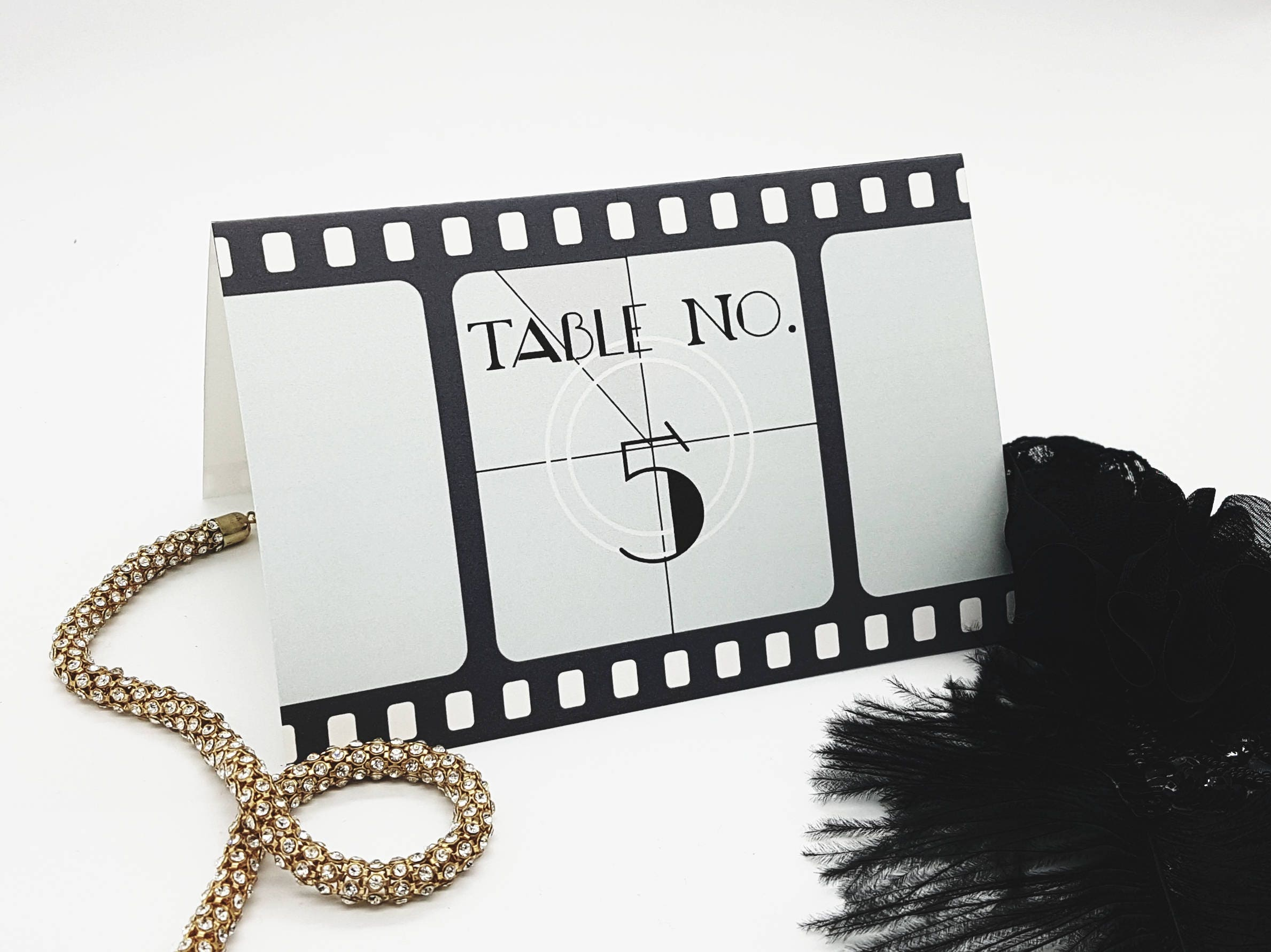 Printable Hollywood Table Numbers 35 Film Reel Party Ideas