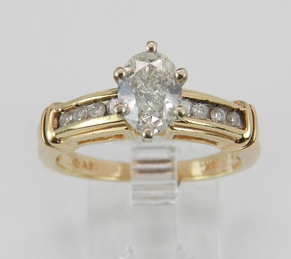 Diamond Engagement Ring Oval Brilliant 14K Yellow Gold Size 7.25 Natural