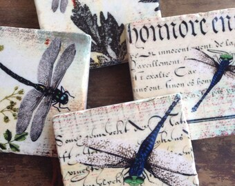 Dragonflies drink coasters - stone coasters