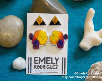 Yellow-Red-Purple Fish and Triangle Earrings Stud Set