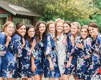 Bridesmaid Robes - Bridesmaid Gift - Satin Robes - Wedding Robe - Bridal Robe - Silk Floral Robes - Gift for Bridesmaid - Bridal Party Robe