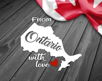 CANADA ONTARIO PROVINCE, Car Window Decal, Water Bottle Mug Decal, Smartphone Decal, Tablet Decal, iPad Decal, Laptop Decal, Car Sticker