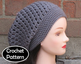 CROCHET HAT PATTERN Instant Download Pdf - Drift Slouchy Tam Beanie Beret Women Teen- Permission to Sell English Only
