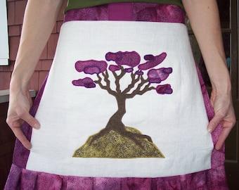 Red Bud Applique Apron/Wrap Skirt