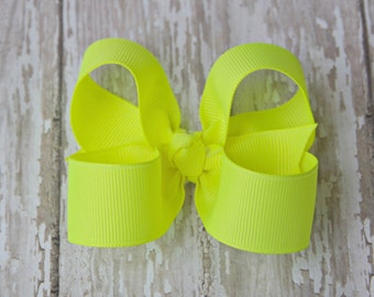 Neon Yellow Toddler Hair Bow 3 Inch Alligator Clip Baby Hairbow Yellow Baby Bow Yellow Toddler Bow