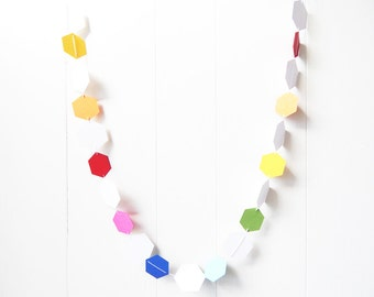 Nursery Bunting / Rainbow Decor / Party Garland / Hexagon Garland / Easter Garland / Photo Prop / Classroom Decor