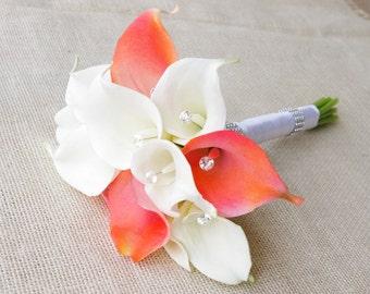 Silk Flower Wedding Bouquet - Medium Coral or Peach Calla Lilies Natural Touch with Crystals Silk Bridal Bouquet
