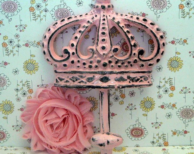 Crown Cast Iron Pink Wall Hook Shabby Chic Princess Queen Home Decor