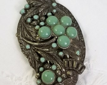 Vintage Art Deco Turquoise Scarf Lapel Brooch Clip Pin