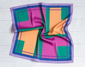 Scarf color block//pañueleta//silk scarf for summer//square silk//color block, green, blue, lilac, yellow