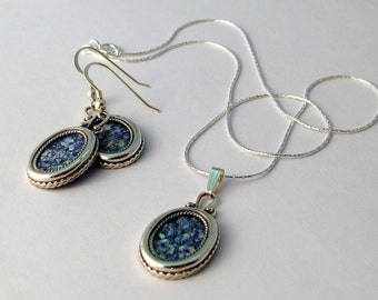 Beautiful New Oval Earrings Pendant Sterling Silver Jewelry Set Authentic Blue Roman Glass