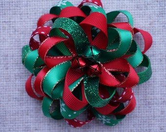 Christmas Hair Bow Loopy Flower Hair Bow red green white, 1st Christmas , green and red, red and green.