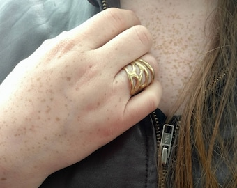 Adjustable Moth Ring in Brass or Sterling Silver