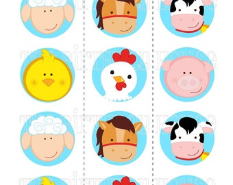 INSTANT DOWNLOAD - PRINTABLE Farm Birthday Party Rounds - Assorted Farm Animals Cupcake Toppers by The Birthday House