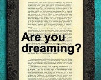 are you dreaming quote print, dream quotes, inspirational quotes, typography print, positive quote wall art dorm decor