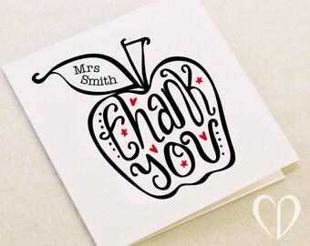 Custom 'Thank You' Apple for the teacher card, Teacher Card, Thank You Teacher Card, Apple Teacher Card, Thanks Teacher Card, Best Teacher