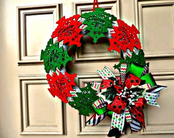 Felt Christmas Tree Wreath, Felt and Mesh Wreath, Red and Green Felt Christmas Tree Wreath, Front Door Wreath, Door Decoration, Home Decor