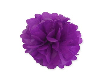 6 Inch Purple Tissue Pom Poms - Paper Party Decor Decoration Supplies