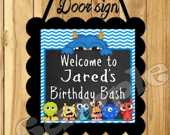 Monster door sign Monster party sign birthday party door sign Monster Bash first birthday door signs 1st birthday Monster party supplies