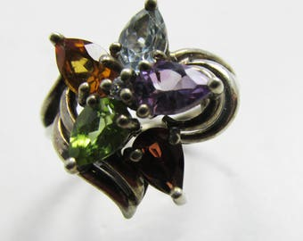 Vintage - Collectible - Floral Ring - Jewelry - Silver - Sterling Silver - Floral - Ring - Gemstones - Modern - Sparkling - Women - Gift