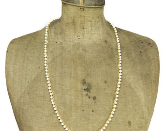 Gold and Pearl Chain Necklace, Long Gold Necklace, Long Pearl Necklace, Long Gold Chain Necklace