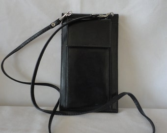 Pre-Owned Black Leather Three Fold Sling Bag****.