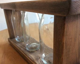 Reclaimed wood and glass bottle vase