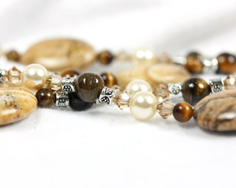 Tigereye Rosary with off-white Swarovski pearls and brown crystals, Beaded Rosaries, Handmade Rosary, Brown Rosary