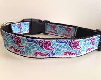 Large 1 inch Colorful Paisley Swirls Dog Collar