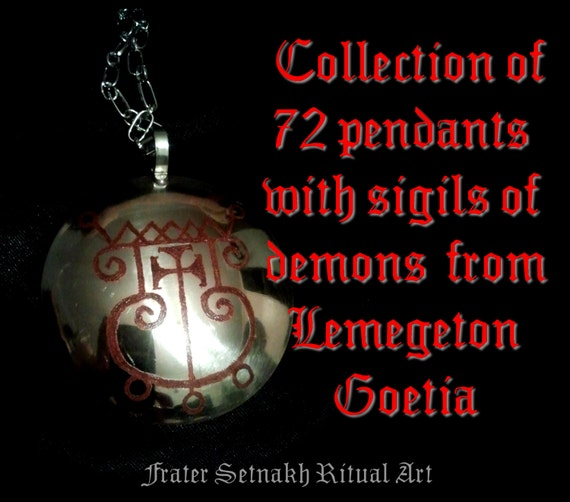 Collection Set Of 72 Pendants With Sigils Of Demons From