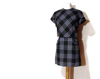 60's Mini Dress Plaid Blouson