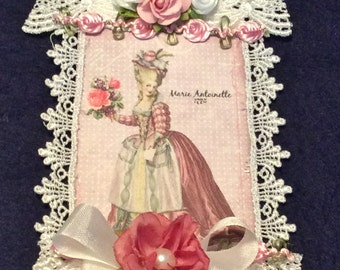 Marie Antoinette Tag, Gift Tag, Vintage Tag, Garden Party Tag, Bridal Shower Tag, Lace Tag, OOAK