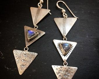 "Sterling Silver and moonstone earrings ""Cosmic"""