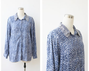 1980s Blue Button Up Blouse, Floral Shirt, Oversize Top, Button Front Denim Blue Daisy Print Top L XL